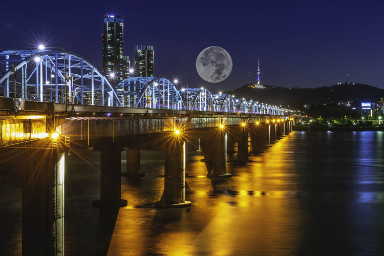 Horizon and Moon Bridge at Dongjak Bridge Han Bridge in Seoul, South Korea Architecture Building Exterior Built Structure City Cityscape Illuminated Nature Night No People Office Building Exterior Outdoors River Sky Travel Destinations Water Waterfront