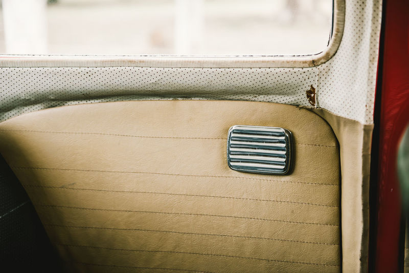 Close-up of vintage car door