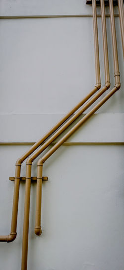 Close-up of pipe against white wall