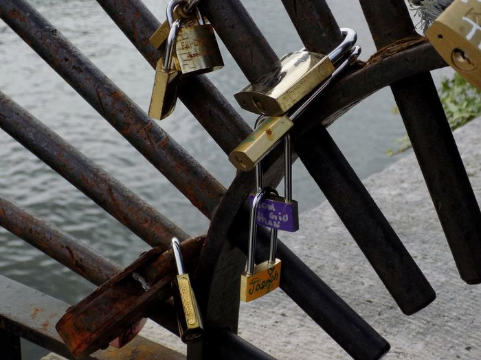 Love Love ♥ Romantic Romanticism City Love Lock Hanging Padlock Luck Bridge - Man Made Structure Lock Water Metal Close-up Locked Hope Belief Faith Dreamcatcher Belly Chainlink Non-western Script