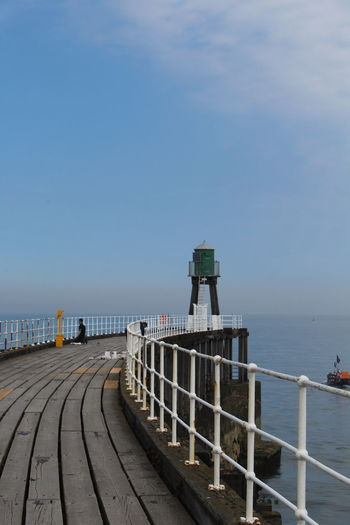 natural Whitby pier Whitby Wood Whitby Pier Whitby Abbey Water Sea Harbor Beach Clear Sky Blue Business Finance And Industry Commercial Dock Pier Sky Lifeguard Hut Lifeguard