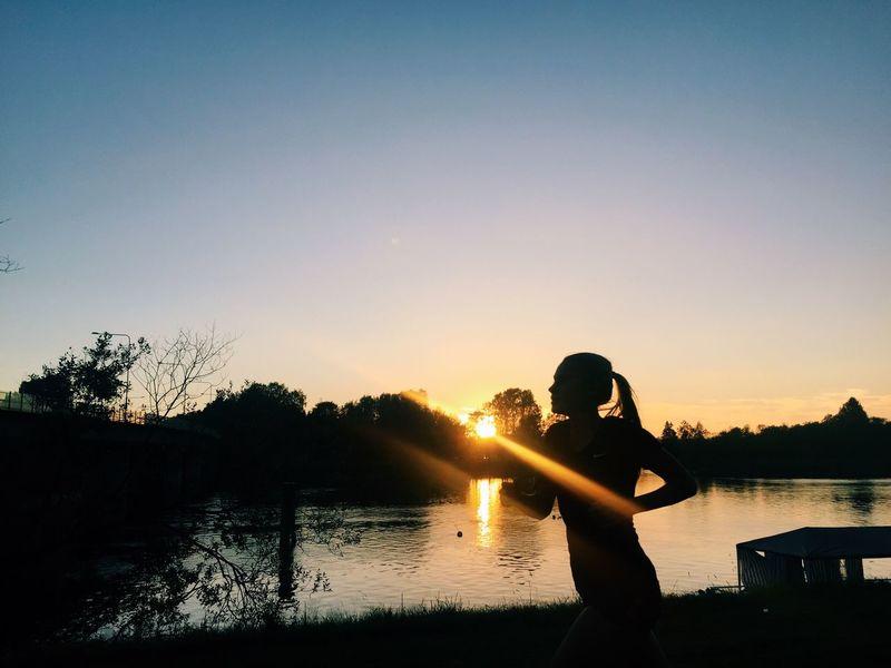 Sunset Water Lake Running Girl girl First Eyeem Photo
