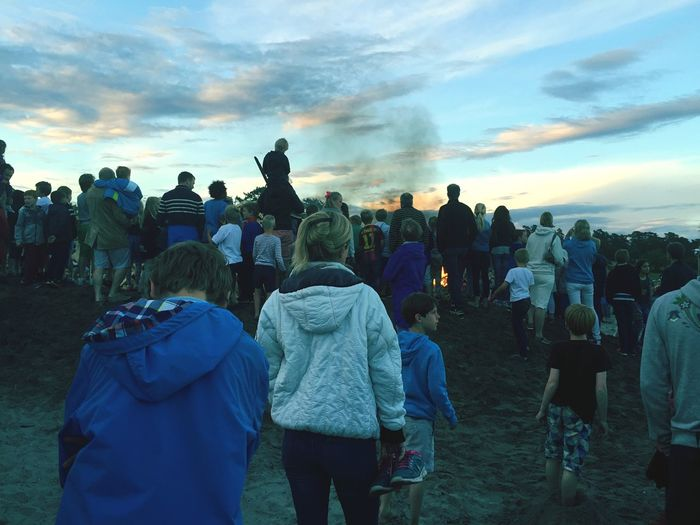 People Gathered For St Johns Eve At Sunset
