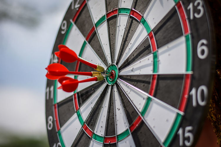Dart series 3 Accuracy Sport Close-up Sports Target Focus On Foreground Pattern No People Geometric Shape Number Circle Leisure Activity Shape Red Day Selective Focus Outdoors Skill  Target Shooting Design Wheel Darts Dart