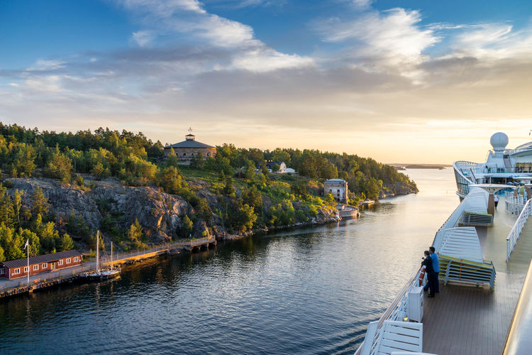 view from deck of a cruise ship Water Architecture Built Structure Sky Cloud - Sky Nature Building Exterior Transportation Beauty In Nature Scenics - Nature Nautical Vessel Building Sunset No People Direction River Outdoors Travel Tree Cruise Ship Sweden Traveling Archipelago Evening Aida
