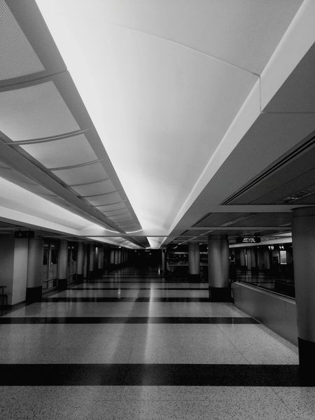 On The Road Lines And Shapes Black And White Airport Architecture In The Terminal