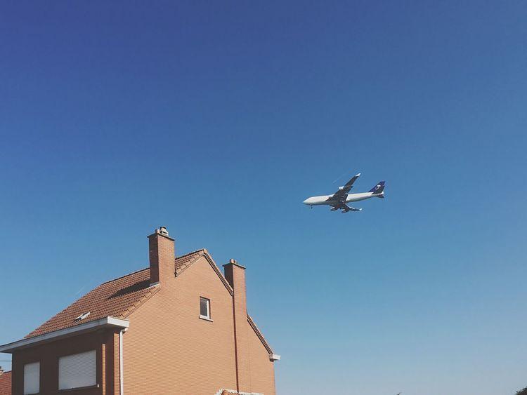Plane Airplane Blue Sky Brick House Minimal No Clouds