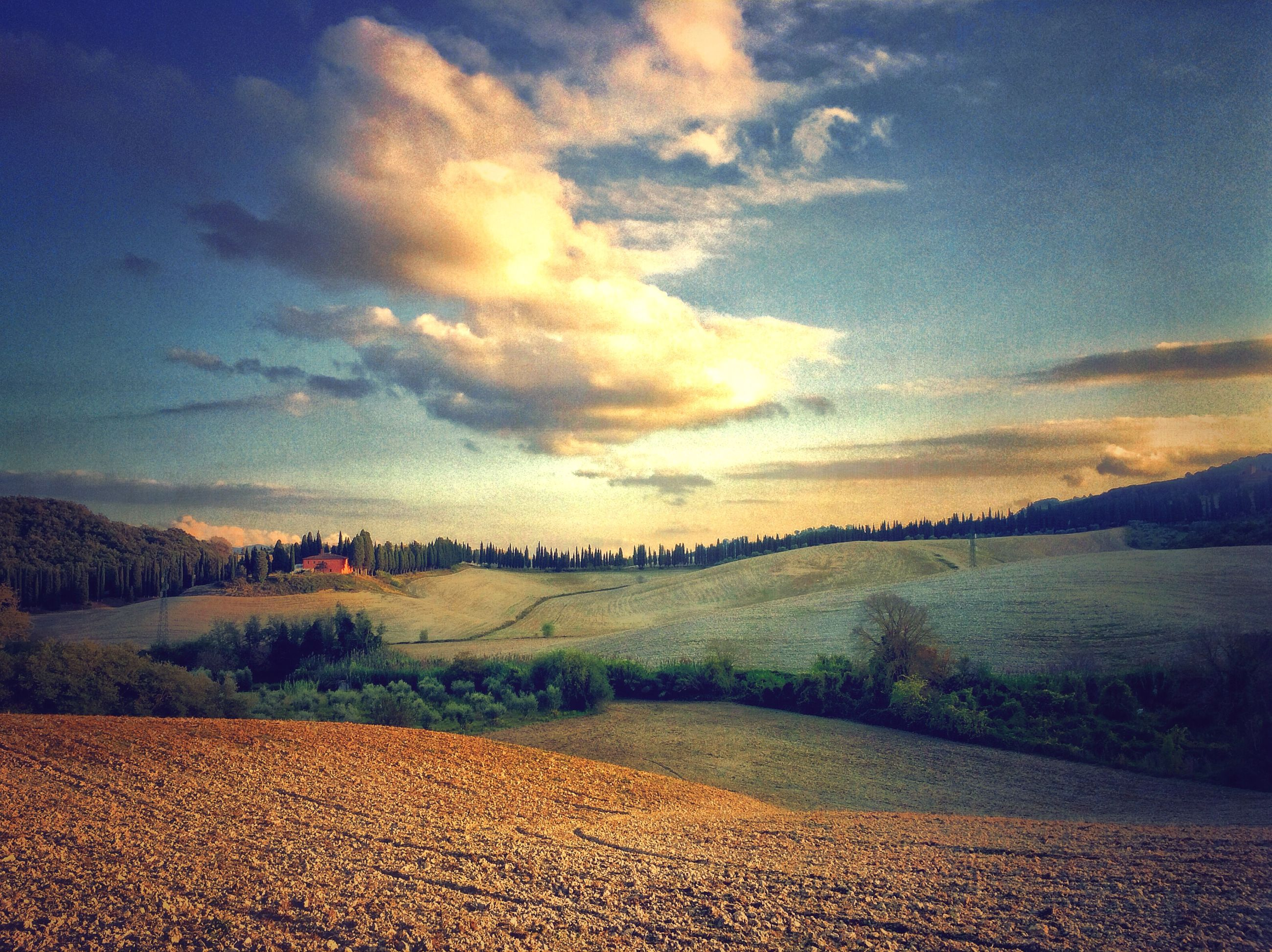 landscape, sky, tranquil scene, tranquility, scenics, cloud - sky, beauty in nature, nature, field, cloud, sunset, horizon over land, sand, rural scene, idyllic, agriculture, cloudy, non-urban scene, remote, outdoors