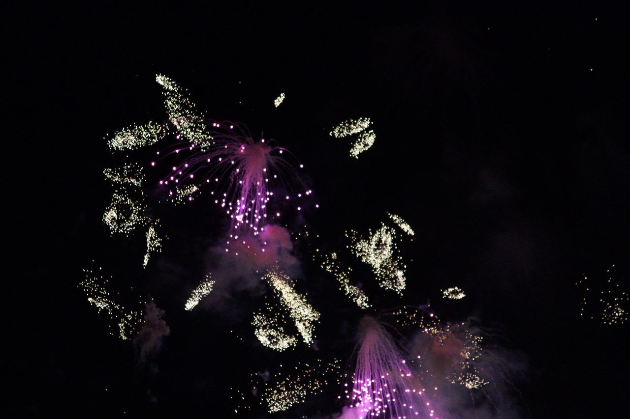 night, celebration, firework display, exploding, low angle view, firework - man made object, long exposure, motion, blurred motion, illuminated, sky, event, arts culture and entertainment, no people, outdoors, firework, tree