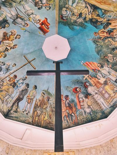 Faith planted Magellanscross Religion Faith Heritage Mural Cross Historical Sky Close-up Drawn Drawing Crucifix Jesus Christ Spirituality Cathedral Church Representation
