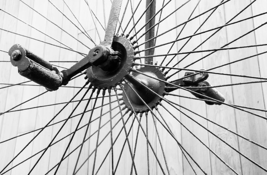 Spokes and Pedals Bicycle Bike Black And White Close Up Day Low Angle View No People Part Of Pedals Spokes