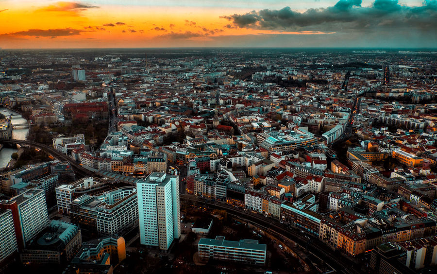 Aerial View Architecture Capture Berlin City City City Life City Life Cityscape Cityscape Clouds Clouds And Sky Crowded Day Modern Outdoors Photo Photography Residential Building Sky Skyscraper Sunset Travel Destinations Urban Skyline View Capture Berlin