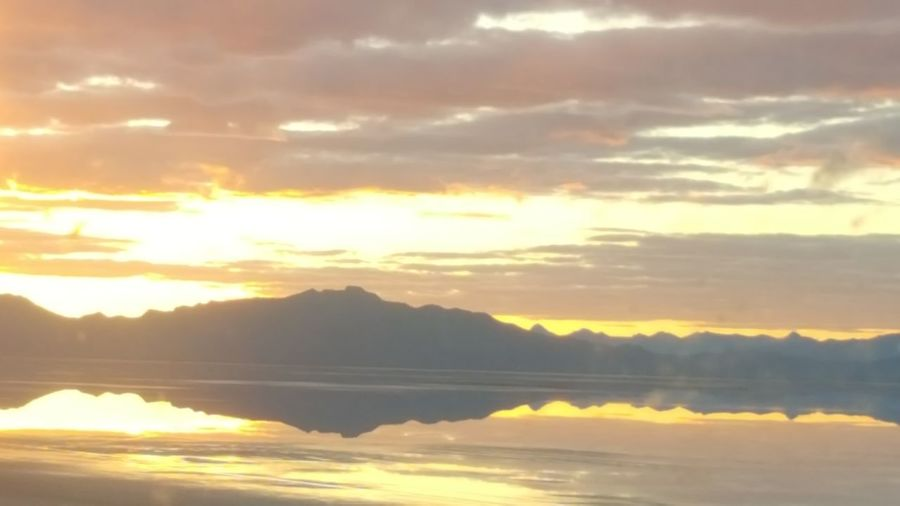 Sunset Utah Salt Flats Nature Water Reflections