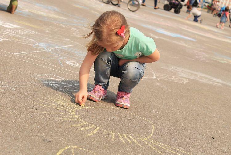 Kid Drawings On Asfalt Painting