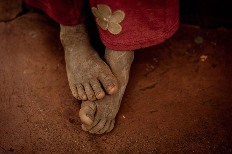 Close-up of the feet of a child