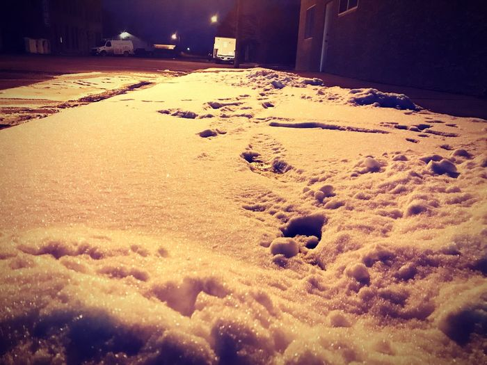 Snowy sidewalk. Sidewalk Snow Cold Temperature Winter Night No People Nature Outdoors