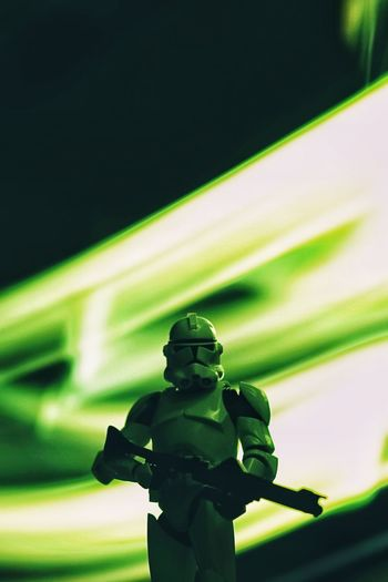Star Wars Clonetrooper Clone Trooper Star - Space Hobby Toys Scale Model Scale Model Photography Human Representation Representation Sculpture Art And Craft Green Color No People Creativity Statue Male Likeness Close-up Focus On Foreground Illuminated Outdoors Low Angle View Craft Light Painting