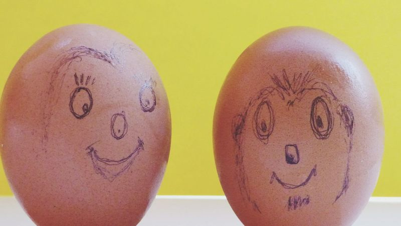 the face of the eggs Eggs... Painting Eggs Face Eggs Yellow Background Happiness Smiling Colored Background Close-up Anthropomorphic Face Smiley Face ArtWork Anthropomorphic Smiley Face Female Likeness Male Likeness Carving - Craft Product