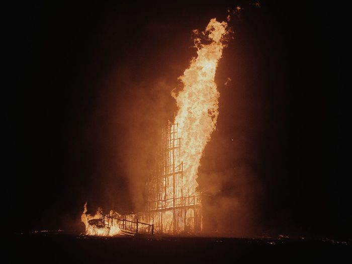 Low angle view of fire at night