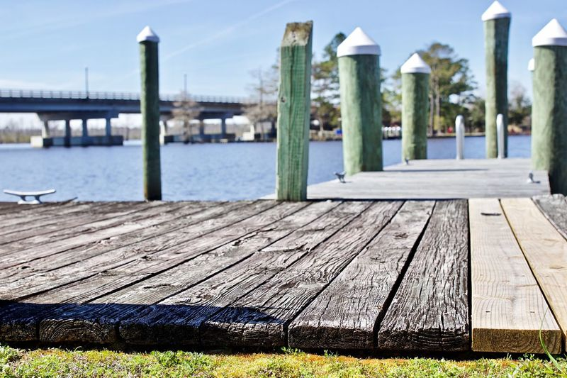 Dock Wood - Material Water Pier Nature Sky Day No People In A Row Land Post Built Structure Grass Architectural Column Footpath Boardwalk Outdoors Architecture Beach Sunlight Sea