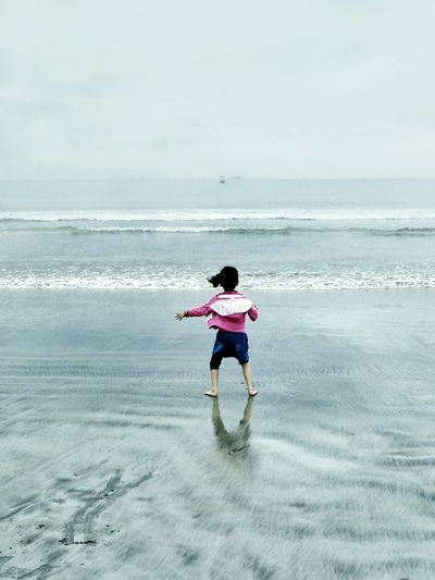 Courage Bravery Fog_collection Taking Photos Challenge Showcase: February Beach Nature Nature_collection Beachphotography Learn & Shoot: Balancing Elements Blue Don't Afraid Beach Photography Nature Photography Foggy Tsunami Area Aceh Pastel Power