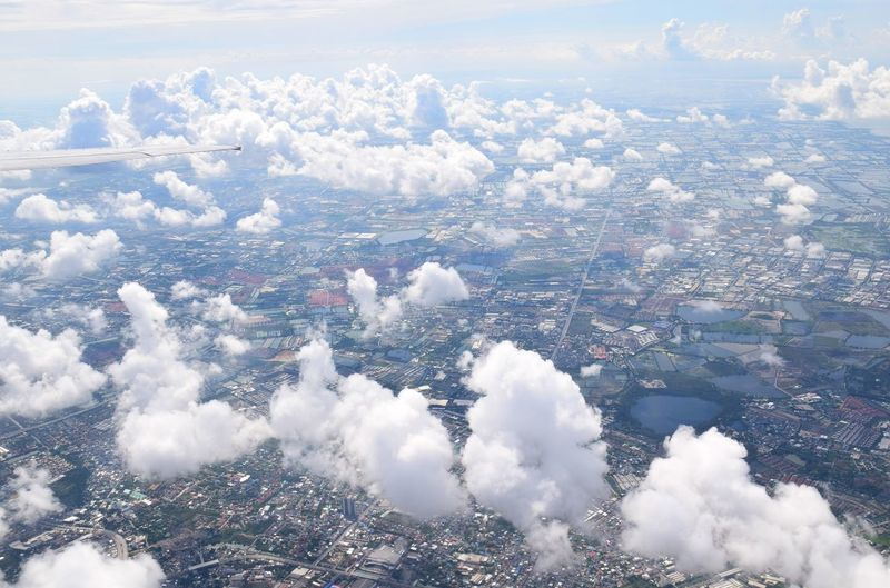 View Natural Copy Space Background Outdoors Travel Town High Bangkok Thailand. City Cityscape Airplane Blue Aerial View Flying Mountain Sea Planet Earth Heaven Stratosphere Plane Foggy Cloudscape Aircraft Wing Meteorology
