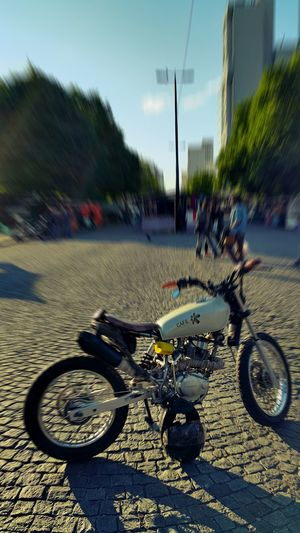 Ride or die Focus Objects Focus Object Transportation Outdoors Motorcycle Enjoy The Ride Focus On Subject Blurred Background Eyeem Photography Vehicles Ride For Thrills Transportation Daylight Photography Cobblestone Cobbled Streets Light And Shadow Shadowplay
