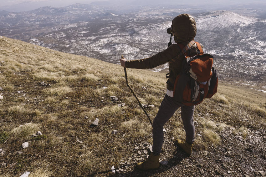 Hiking on the mountain Rtanj, Serbia Adult Adults Only Adventure Day Full Length Hiking Mountain One Person Outdoors People Photographer Photography Rear View Rear View Mirror Snow Winter