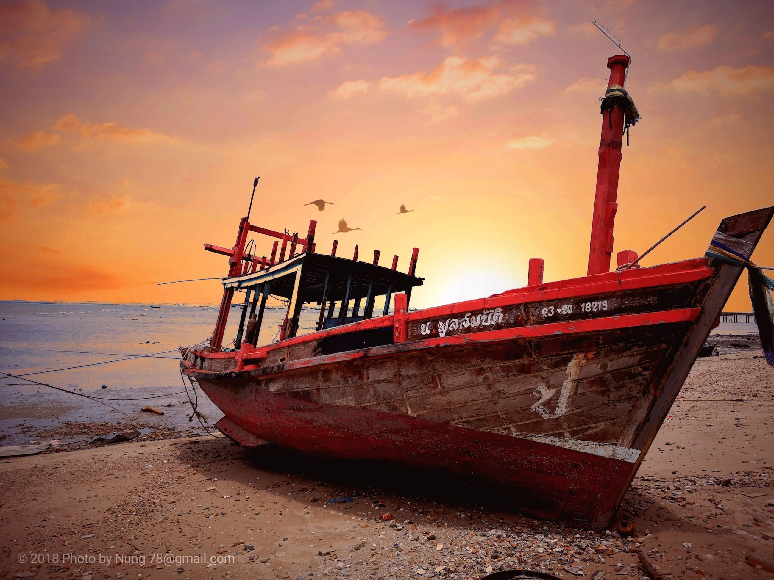 nautical vessel, sky, mode of transportation, water, transportation, sunset, sea, moored, beach, land, cloud - sky, nature, no people, orange color, travel, scenics - nature, beauty in nature, tranquility, outdoors, fishing boat, fishing industry