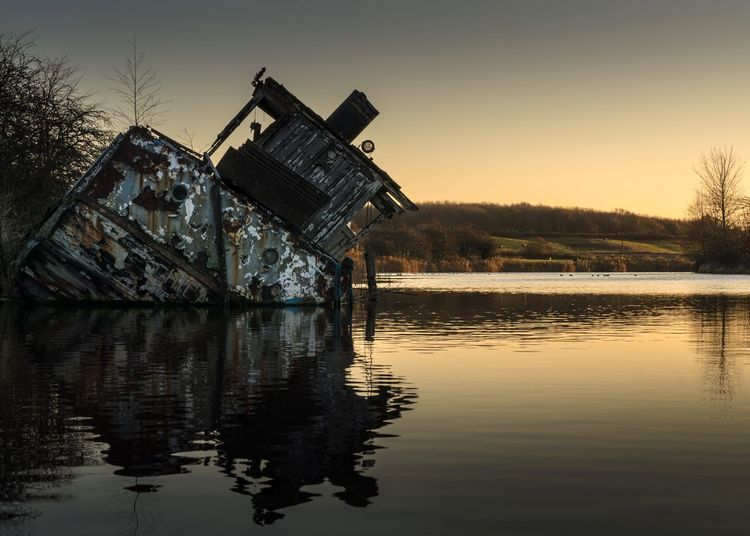 Water Reflection Outdoors No People Sky Tree Clear Sky Nature Sunset Beauty In Nature Day Boat Boat Wreck Sunken Boat River River Bank  MV Chica River Boat Dutton Locks Northwich