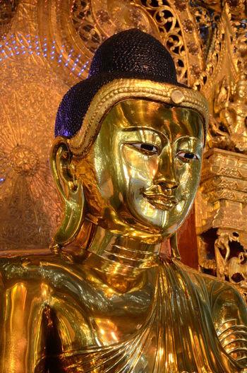 Close-up Gold Colored Indoors  Religion Statue Burmese Buddha Image Face Of Buddha Image Close Up
