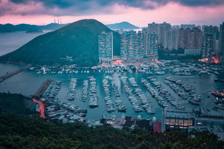 Aberdeen typhoon shelter, hong kong seen from brick hill nam long shan, in sunset time