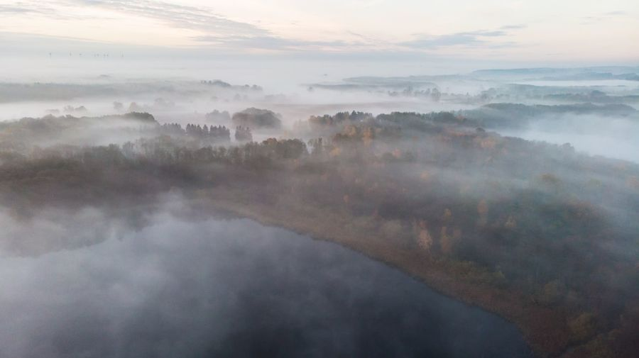 Dronephotography Sky Beauty In Nature Nature Scenics - Nature Water Fog Tranquility Cloud - Sky Tranquil Scene Environment No People Landscape Morning