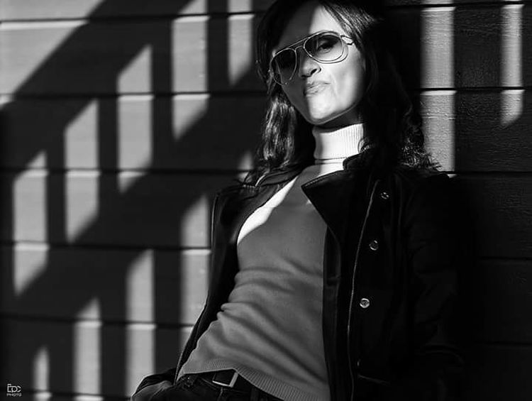 Eidsvoll Akershus Norway Light And Shadow Blackandwhite Dark Urban Sun One Woman Only Adult Adults Only Only Women One Young Woman Only Young Adult One Person Young Women Eyeglasses  Long Hair Portrait City Standing Outdoors Day