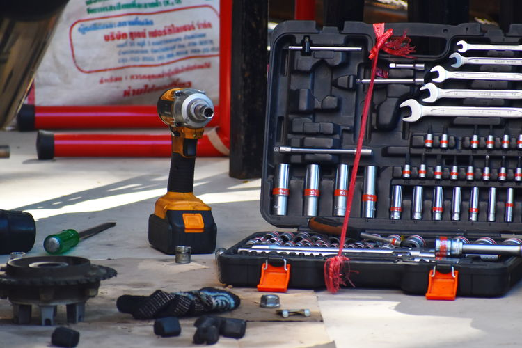 Close-up of toolbox on floor