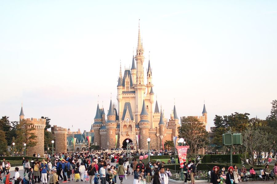 Disneyland Tokyo Disney Land Disneyland Castle Clock Face City Clock Crowd Politics And Government King - Royal Person Clock Tower Group Of People Cityscape Sky