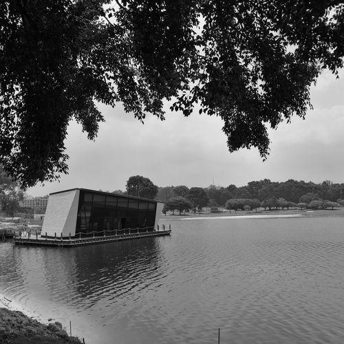 Floating On Water Floating Pavilion Showcase June Architecture Architecture_bw Black And White Lakeside Blackandwhite Photography Monochrome