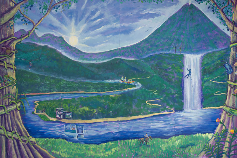 Painting of Volcano Arenal in Costa Rica - La Fortuna, Alajuela province, Costa Rica Alajuela Arenal Volcano National Park Art And Craft Costa Rica Landscape_Collection Paint Riverside Vacations Active Volcano Arenal Volcano Art Illustration La Fortuna Landscape Landscape_photography Mountain Mural Mural Art Painting River Tourism Travel Destinations Volcano Water_collection Waterfall