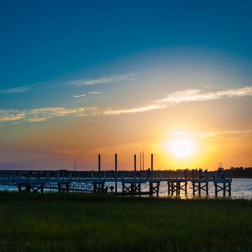 Get low! Sunset Silhouette Bridge EyeEm Charleston