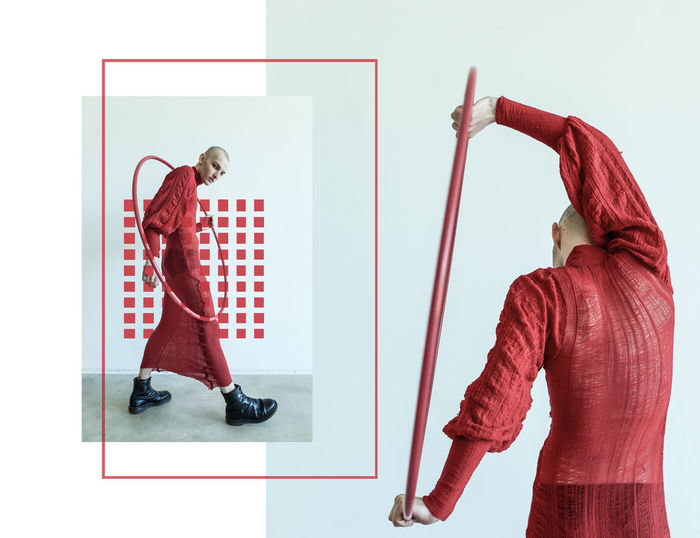 Adult Collection Colors Design Fashion Indoors  Men Model One Man Only One Person Red Standing Young Adult