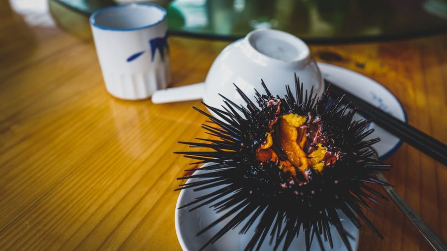 Close-up of sea urchin served on table