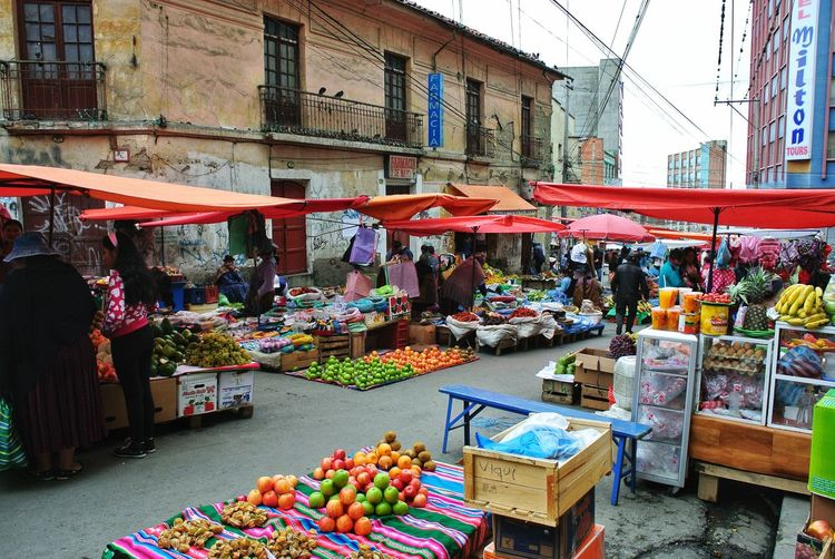 View of market stall in street