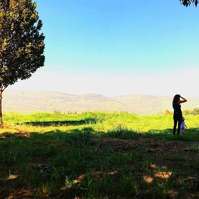 Wanderlust Lost In The Landscape Field Grass Nature Real People Growth Standing