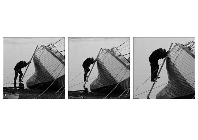 The Old Man and the Sea - Triptych Ladder The Week On EyeEm Triptych Architecture Boat Building Exterior Day Lifestyles Manual Worker Men Occupation Outdoors People Playing Real People Skill  Standing Three People Window Washer Working