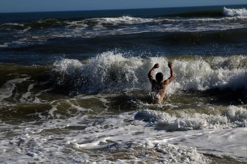 Fire Island NY Motion Nature One Person Outdoors Real People Sky Water Wave