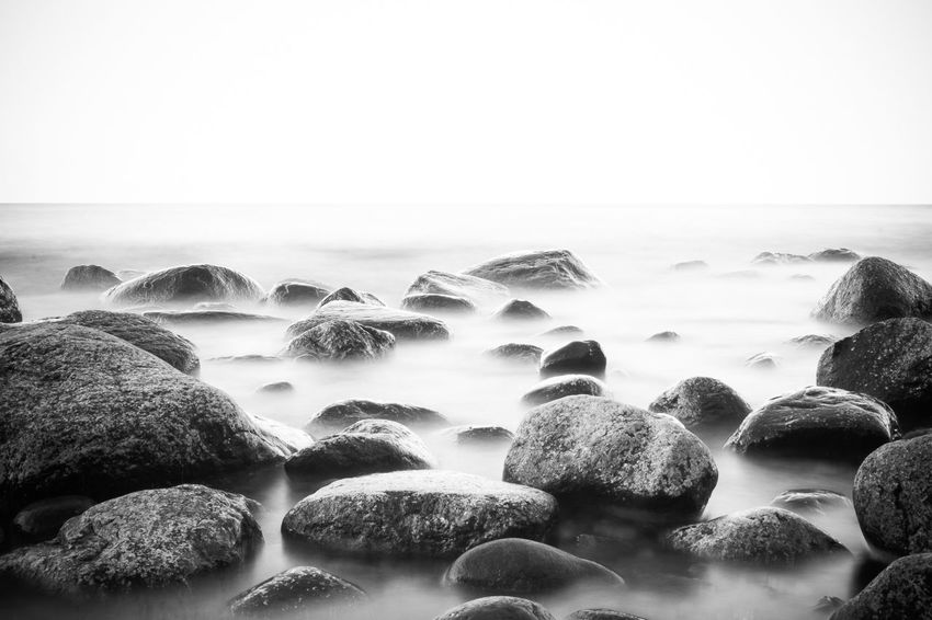 Baltic Sea Baltic Sea Winter Beach Beauty In Nature Blackandwhite Blackandwhite Photography Clear Sky Day Horizon Over Water Nature No People Outdoors Scenics Sea Sky Stones Stones & Water Water