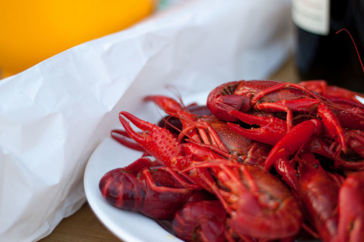 Close-Up Of Cooked Crayfish In Plate On Table
