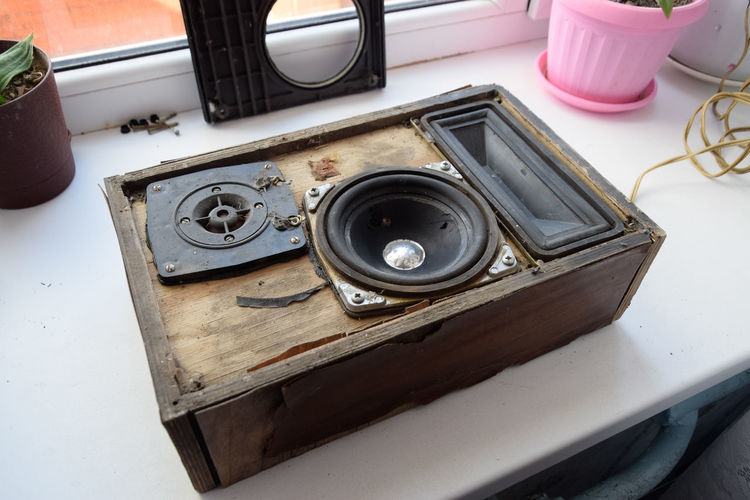 High angle view of speaker on table at home