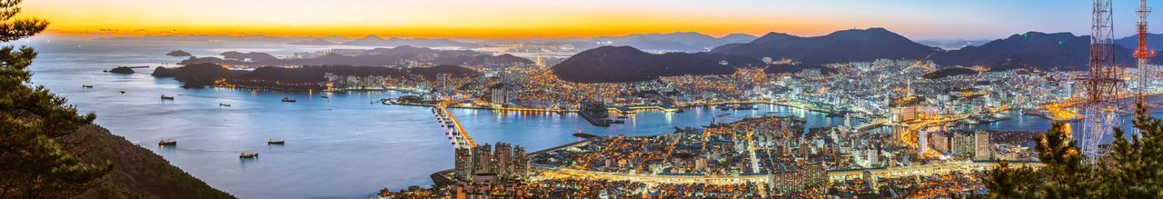Busan City Korea Cityscapes Night Landscape Night View Nightscape Panorama