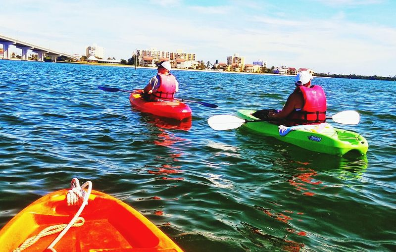 Kayaking Clearwaterbeach Florida Life Salt Life Friends ❤ Hanging Out On The Water Nautical Vessel Water Tranquility Tranquil Scene Beautiful Day